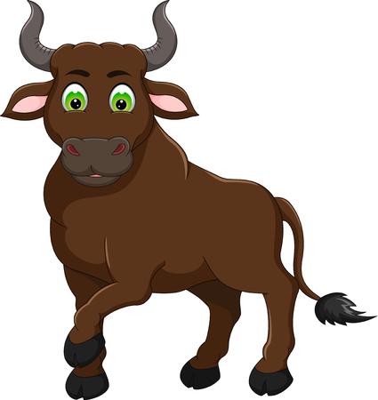 Ilustración de cute bull cartoon standing with smile - Imagen libre de derechos
