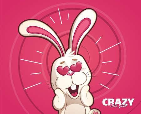 Ilustración de Rabbit madly in love with heart eyes on spiral background - Imagen libre de derechos