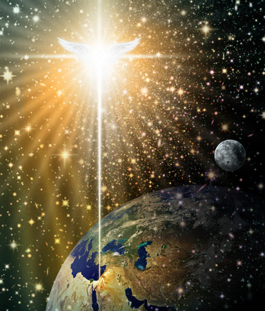 Photo for Digital illustration of the Christmas star and angel shining down over Bethlehem, as viewed from outer space. Space and stars are digitally illustrated. - Royalty Free Image