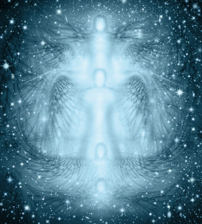 Photo for Background design of angels and angel wings combined with a starry night. - Royalty Free Image