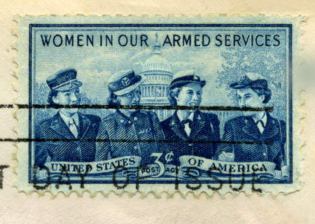 Foto de 1952 U.S. Postage Stamp commemorating women in the United States armed services. Stamp is from my personal stamp collection. - Imagen libre de derechos