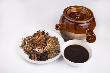 Photo for chinese herb medicine tea with pot - Royalty Free Image