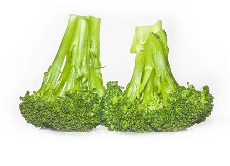 Brocoli steamed on white background