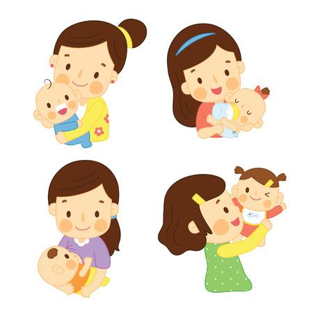 Ilustración de Happy Mom Hugging Baby - Imagen libre de derechos