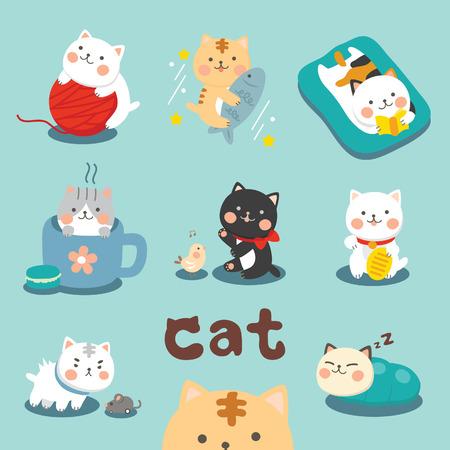 Illustration pour Set Cute Cat - image libre de droit