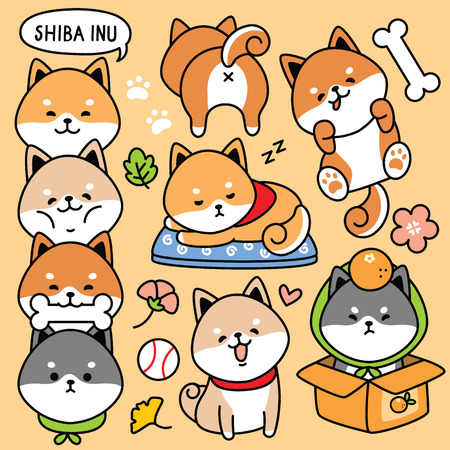Ilustración de illustration vector set cartoon cute dog japan shiba inu - Imagen libre de derechos