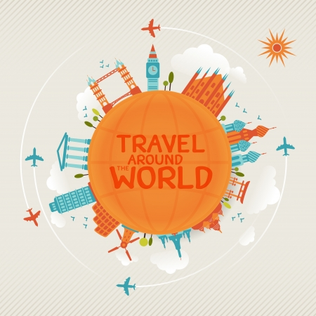 Foto de vector illustration of travel famous monuments around world with plane, sun and clouds   - Imagen libre de derechos