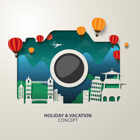 Photo pour Infographics camera Travel and Vacation concept elements. - image libre de droit