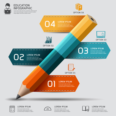 Photo pour Education pencil Infographics step option. Vector illustration. can be used for workflow layout, banner, diagram, number options, step up options, web design. - image libre de droit