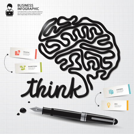 Illustration pour Infographic Design template minimal style Business Ink shaped brain thinking on paper. Vector illustration. - image libre de droit