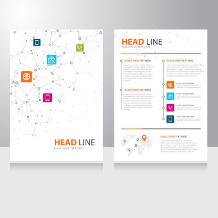 Illustrazione per Vector internet communication Brochure Flyer design template with polygonal wireframe background - Immagini Royalty Free