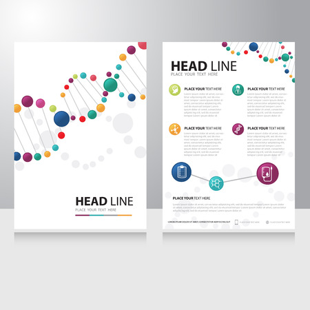 Illustration pour Vector healthcare medical and science technology Brochure Flyer design template with spiral helix dna background - image libre de droit
