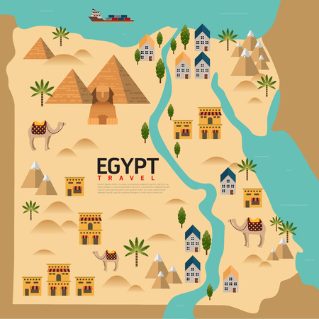 Illustration for Design Egypt Travel and Landmark Concept.Vector - Royalty Free Image
