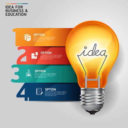 Illustration pour Concept idea light bulb infographics design template. - image libre de droit