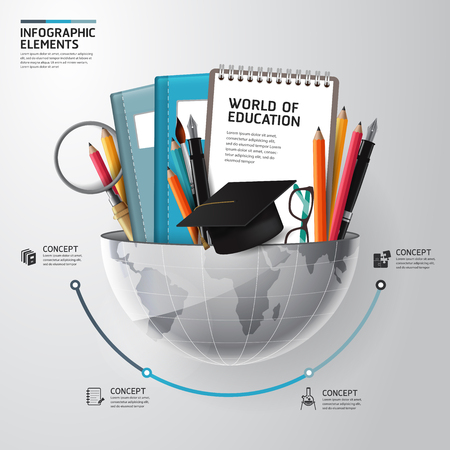 Photo for World of education concept infographics. Vector illustration. can be used for workflow layout, banner, diagram - Royalty Free Image