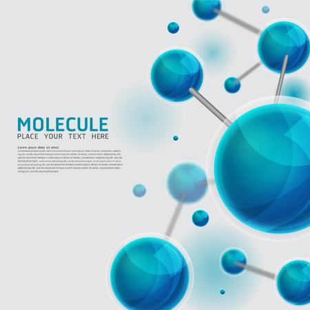 Ilustración de Abstract molecules design. Vector Medical scientific Atoms and biology cell. - Imagen libre de derechos
