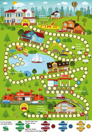 Ilustración de Board game (Cartoon city) - Imagen libre de derechos