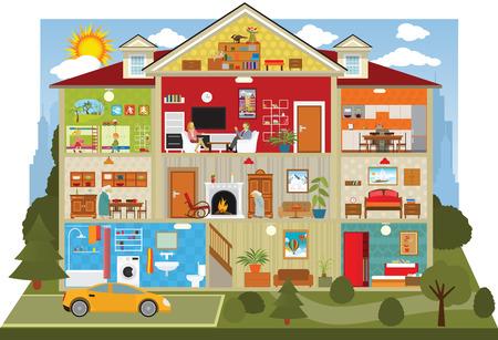 Ilustración de illustration of cross section of the house - Imagen libre de derechos