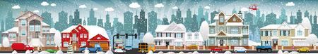 Illustration pour Vector illustration of city life (winter) - image libre de droit
