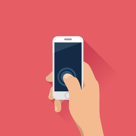 Illustration pour Hand holding mobile phone in flat design style. - image libre de droit