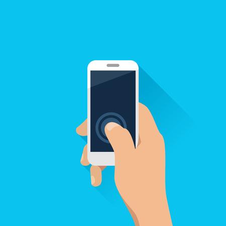 Illustration pour Hand holding mobile phone in flat design style - image libre de droit
