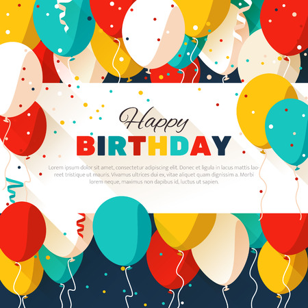 Illustration pour Happy Birthday greeting card in a flat style - image libre de droit