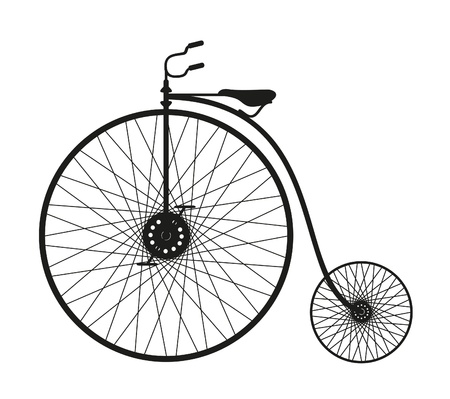 Photo pour Silhouette of an old bicycle on white background  - image libre de droit