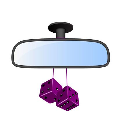 Ilustración de Car mirror with pair of purple dices  - Imagen libre de derechos