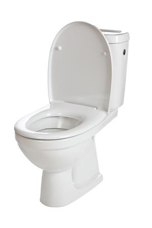 white ceramic toilet on white background