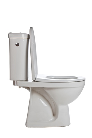 white ceramic toilet on white background