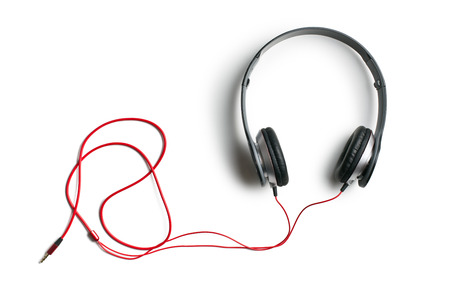 Photo for top view of headphones on white background - Royalty Free Image