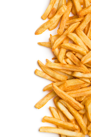Photo pour top view of french fries on white background - image libre de droit