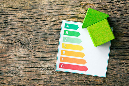 Photo pour the wooden house with energy efficiency levels - image libre de droit
