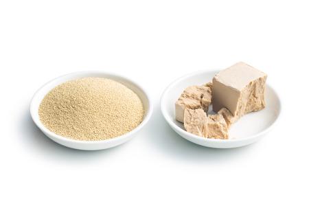 Foto de fresh and dry yeast in bowl  on white background - Imagen libre de derechos