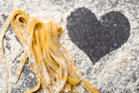 Photo for the homemade pasta and heart - Royalty Free Image
