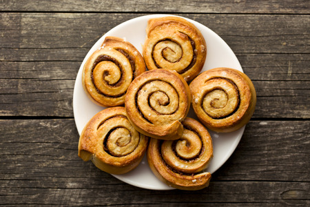 Photo for top view of cinnamon buns - Royalty Free Image