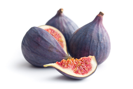 Foto per sliced fresh figs on white background - Immagine Royalty Free