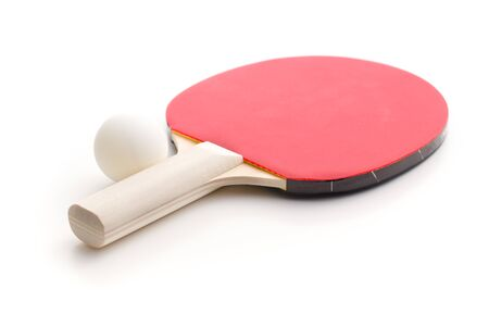 Photo for table tennis racket and ball. Table tennis equipment isolated on white background. - Royalty Free Image