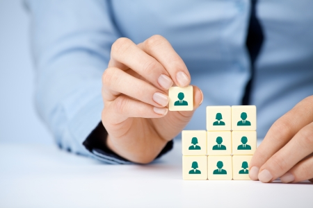 Photo for Human resources, social networking and assessment center concept - recruiter complete team by one person (employee) represented by icon.  - Royalty Free Image