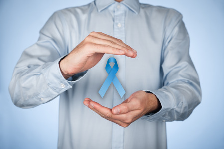 Photo pour man with protective and support gesture and blue ribbon. - image libre de droit