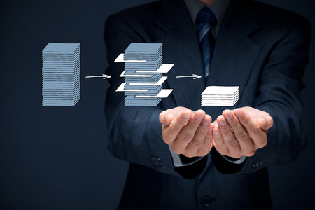 Foto de Data mining (dataminig) process and big data analysis (bigdata) issue concept. Analyst give you structured and relevant data. - Imagen libre de derechos