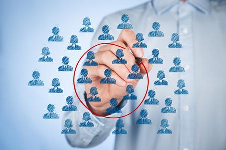 Photo pour Marketing segmentation concept - businessman with select segment (niche) of customers. - image libre de droit