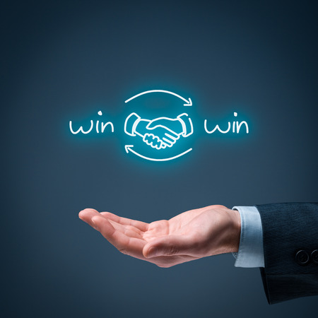 Photo for Win-win partnership strategy concept. Businessman offer win-win scheme with handshake partnership agreement. - Royalty Free Image