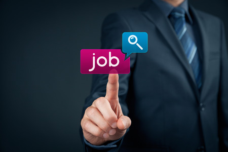 Photo for Looking for a job on-line concept. Person click on virtual button with text find job. - Royalty Free Image