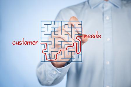 Foto de Customer needs analysis concept. Businessman analyze customers needs. - Imagen libre de derechos