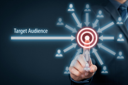 Photo pour Target audience concept. Businessman click on target, audience pointing to target is around target. - image libre de droit