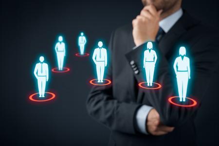 Foto de Target audience (marketing) concept. Businessman think about target audience and customers. - Imagen libre de derechos