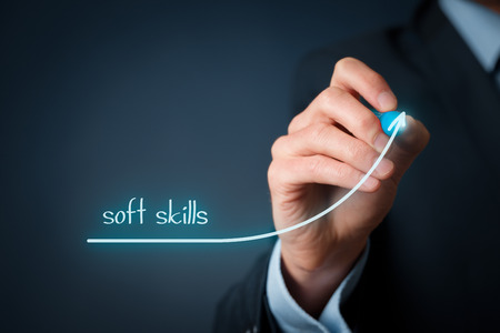 Foto de Manager (businessman) plan improve his soft skills. Soft skills training and improvement concept. - Imagen libre de derechos