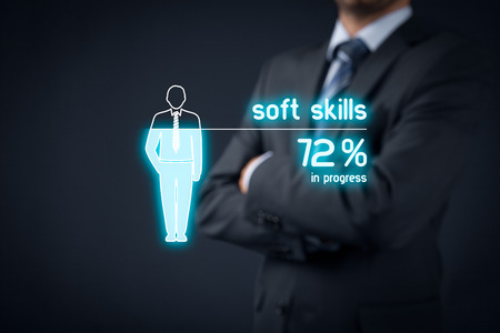 Foto de Soft skills training in progress. Visual metaphor - manager improve his soft skills. - Imagen libre de derechos