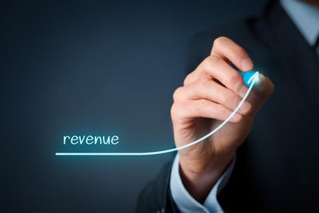 Foto de Increase revenue concept. Businessman plan revenue growth. - Imagen libre de derechos